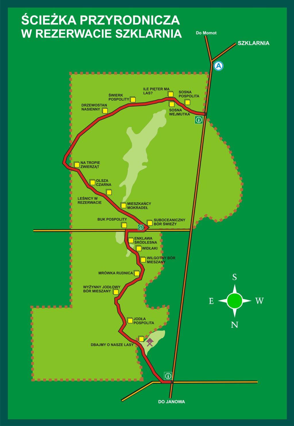 Plan ścieżki w rezerwacie Szklarnia